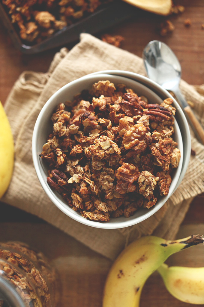 Top down shot of a big bowl of healthy homemade Banana Bread Granola