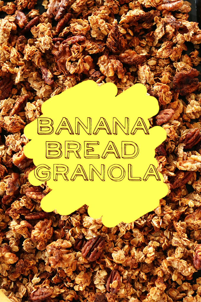 Baking sheet filled with gluten-free vegan Banana Bread Granola