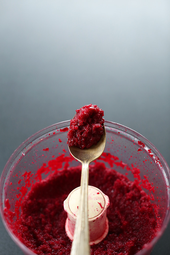 Food processor with beet puree for making healthy Chocolate Lava Cakes