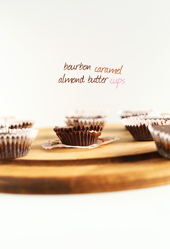 Vegan Bourbon Caramel Almond Butter Cups on a cutting board