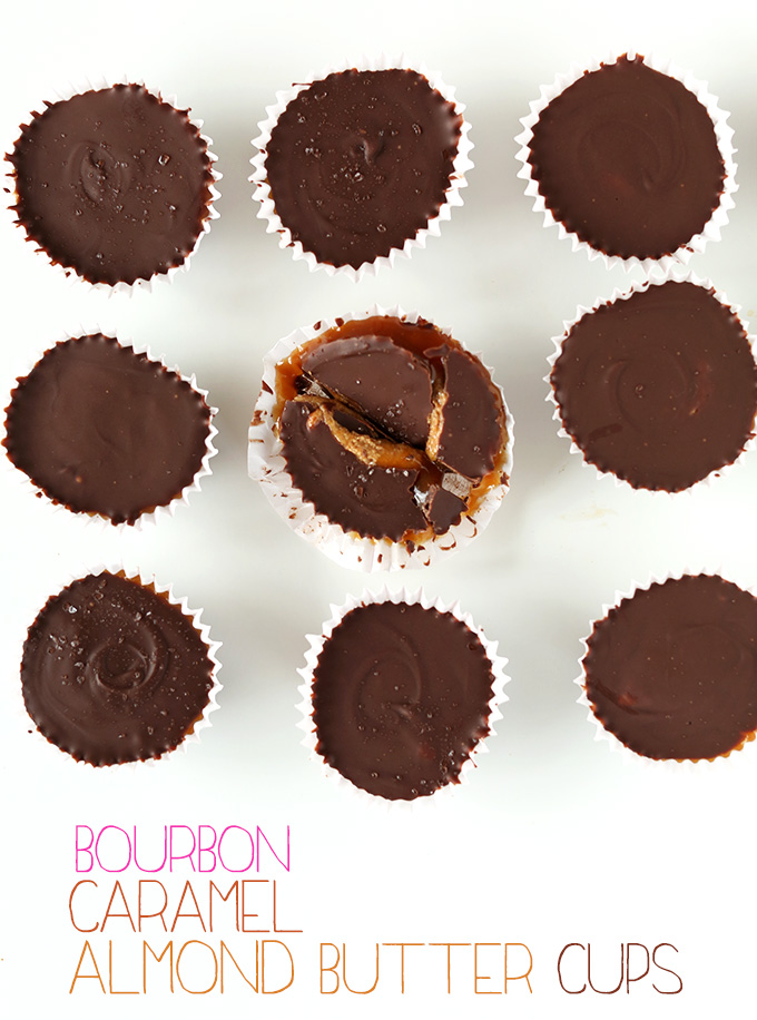 Top down shot showing the dark chocolate shell of our Bourbon Caramel Almond Butter Cups