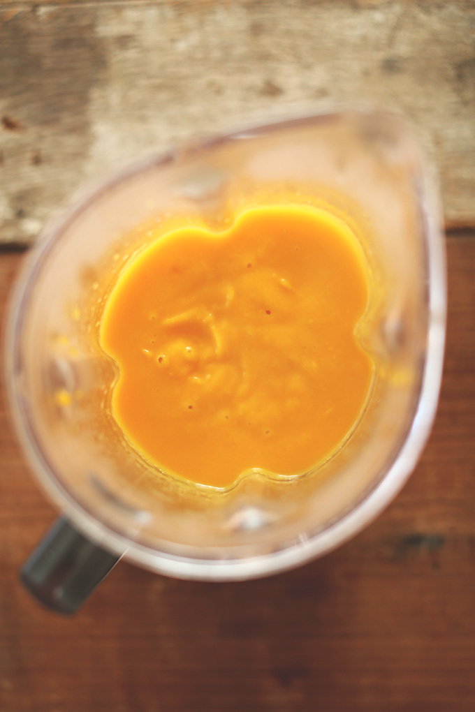 Blender containing butternut squash puree