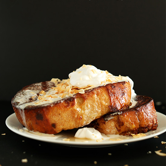 Two big slices of our delicious Coconut Cream Pie French Toast recipe
