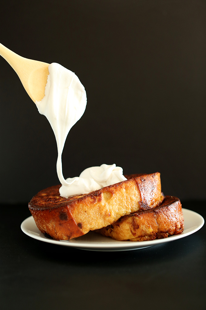 'Coconut Cream Pie French Toast with Coconut Whipped Cream! minimalistbaker.com #minimalistbaker' from the web at 'https://minimalistbaker.com/wp-content/uploads/2014/01/Coconut-Cream-Pie-French-Toast-with-Coconut-Whipped-Cream-minimalistbaker.com_.jpg'