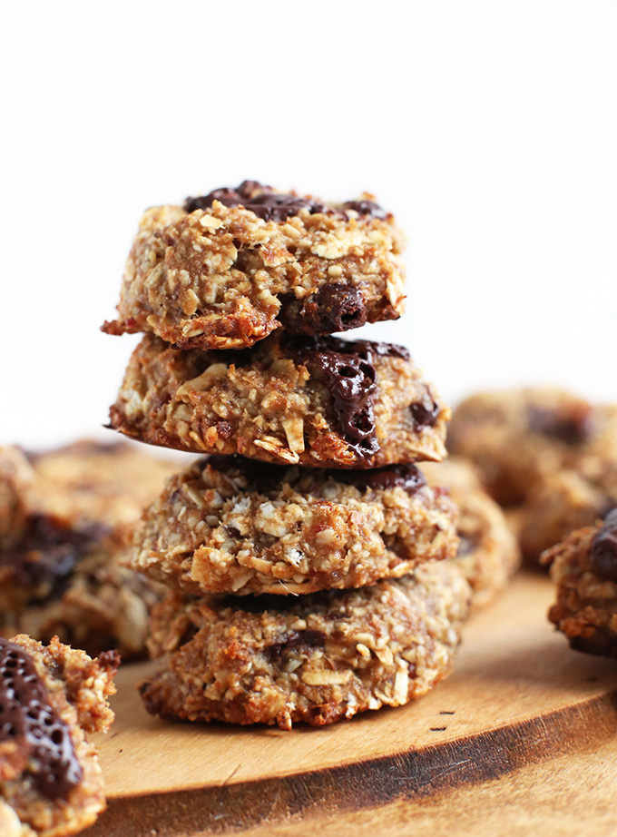 Stack of Vegan Oatmeal Cookies made with oats, peanut butter, and chocolate