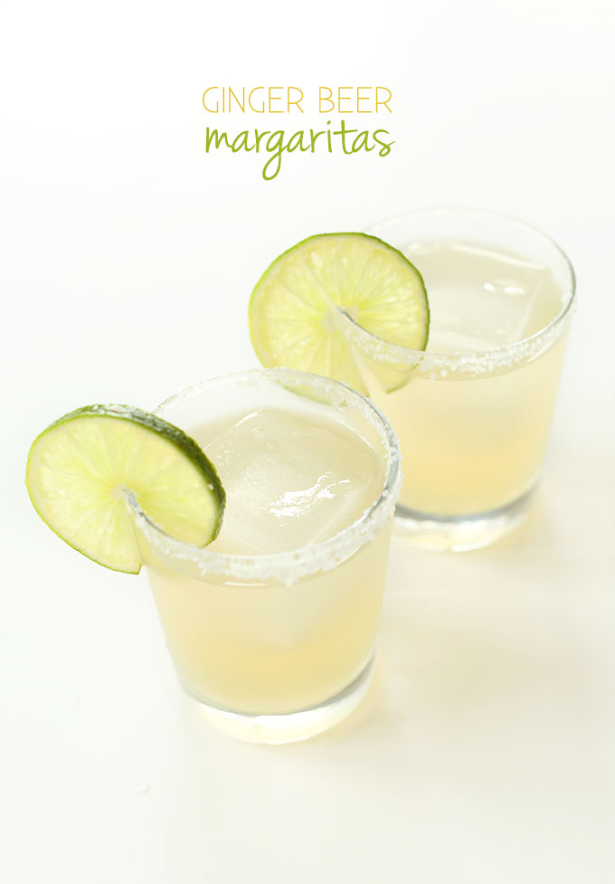 Two glasses of the Best Ginger Beer Margaritas