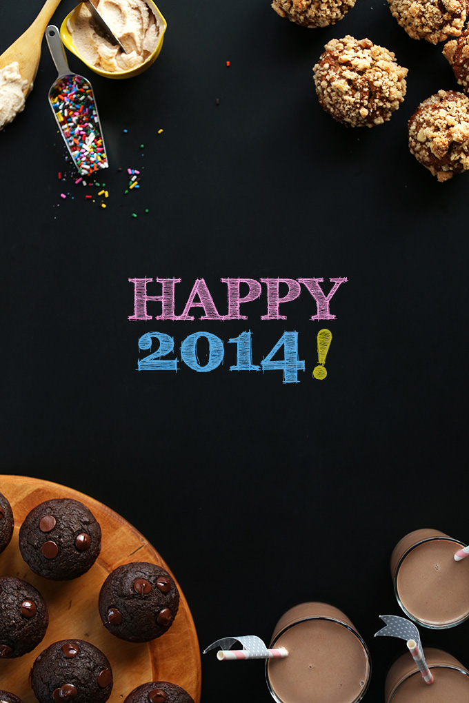 Happy 2014 photo featuring vegan muffin, mousse, and almond milk recipes