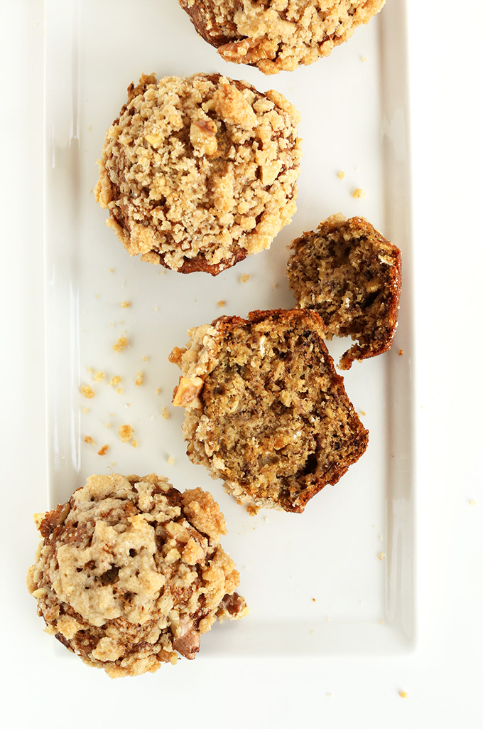 Plate of Healthy Banana Muffins with Crumble Top