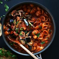 Skillet of 1-Pot Vegan Pasta made with mushrooms and eggplant
