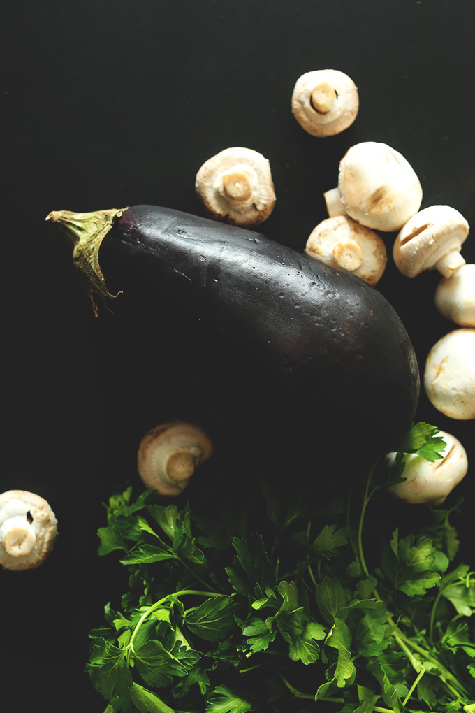 Eggplant, mushrooms, and parsley for making 1-Pot Vegan Pasta