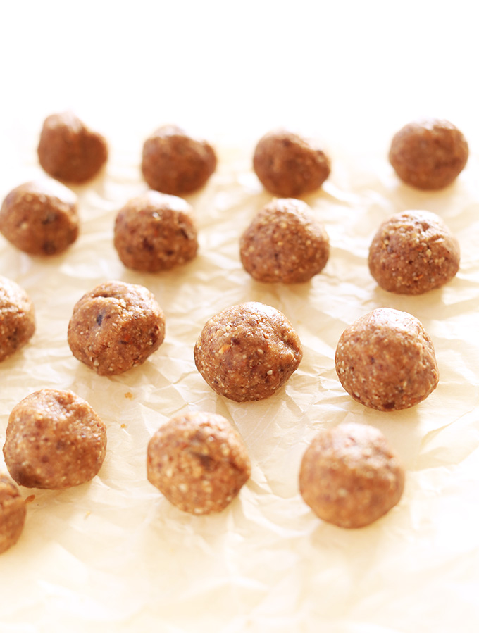 Parchment paper filled with vegan Peanut Butter Truffle centers