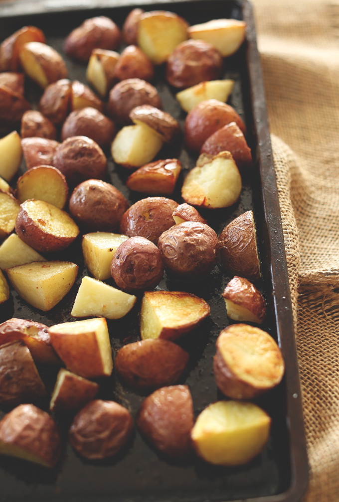 Freshly roasted potatoes for making our Patatas Bravas recipe