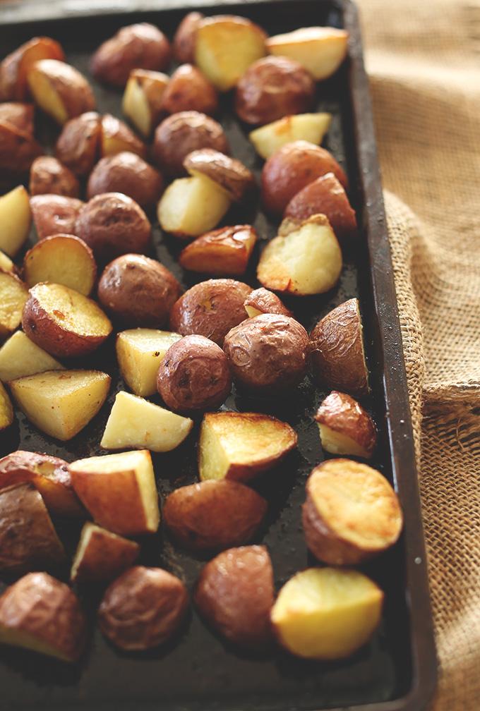 Freshly roasted potatoes for making our Patatas Bravas recipe