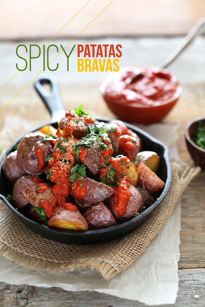 Skillet of Spicy Patatas Bravas for a gluten-free vegan breakfast