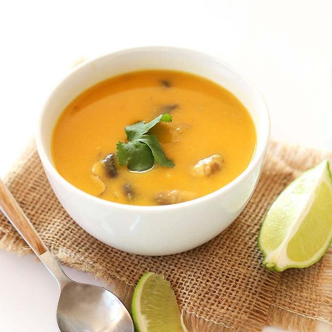 Bowl of Thai Tom Kha Gai Soup made with butternut squash