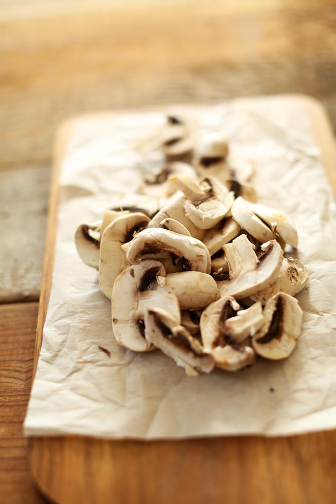 Sliced mushrooms for adding to Vegan Tom Kha Gai Soup