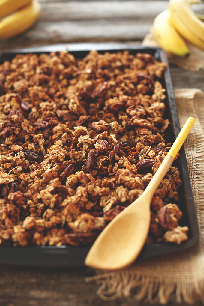 Baking sheet with freshly baked Vegan Banana Bread Granola