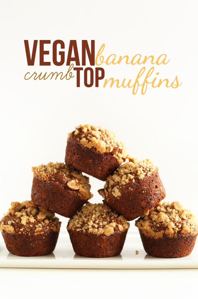 Stacked pyramid of homemade Vegan Banana Crumb Top Muffins