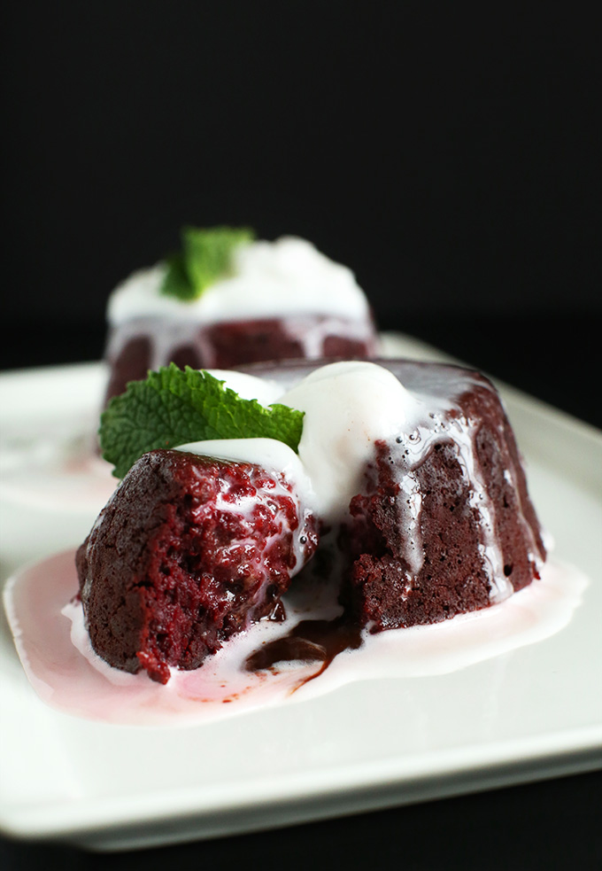 Showing the dark red tint of our Vegan Chocolate Lava Cakes made with beet