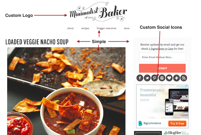 customized site hack minimalist baker