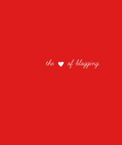 The Heart of Blogging written on a red background