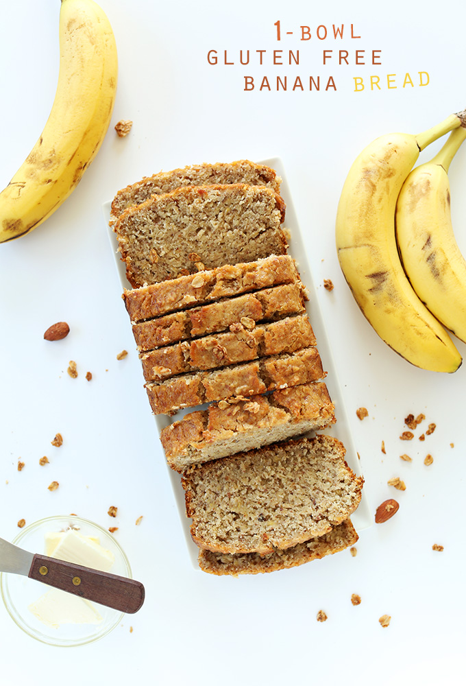 Sliced loaf of delicious and easy Gluten-Free Banana Bread
