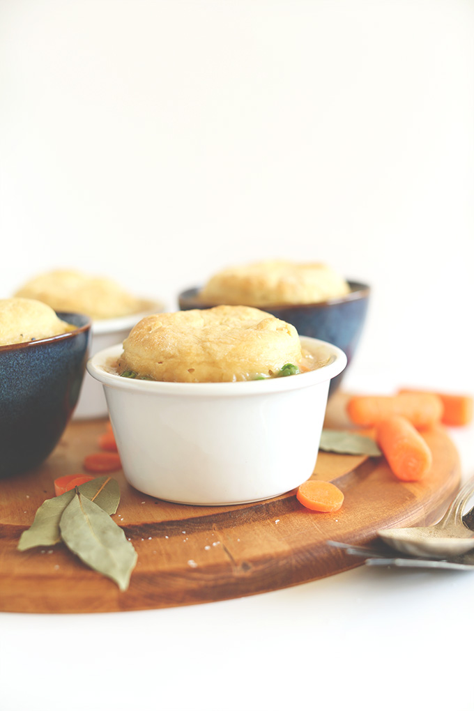 Cutting board with bowls of homemade 1-Hour Vegan Pot Pies
