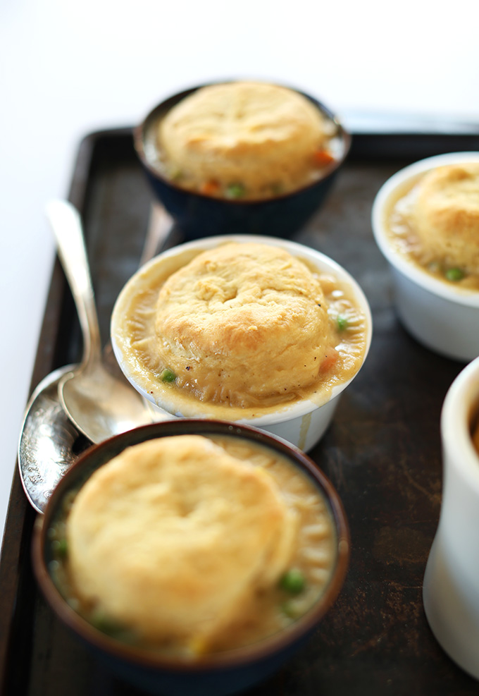 Baking sheet filled with small bowls of our 1-Hour Vegan Pot Pies recipe
