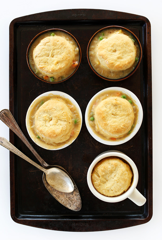 Homemade Vegan Pot Pies made with flaky homemade vegan biscuits