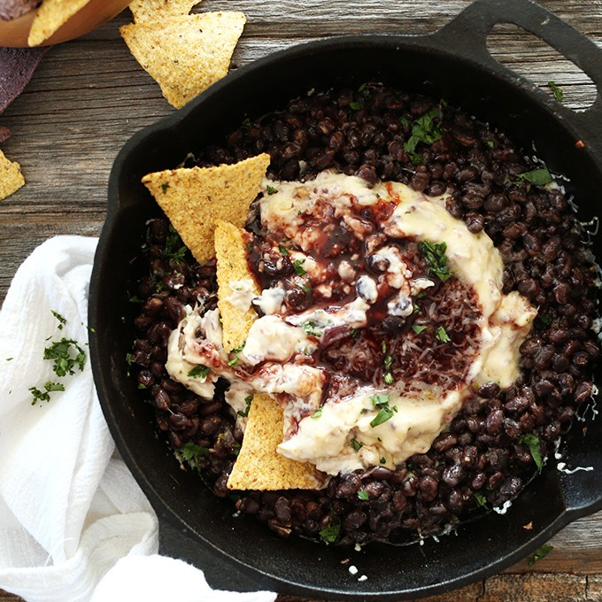Skillet of quick and easy homemade Raspberry Chipotle Black Bean Dip