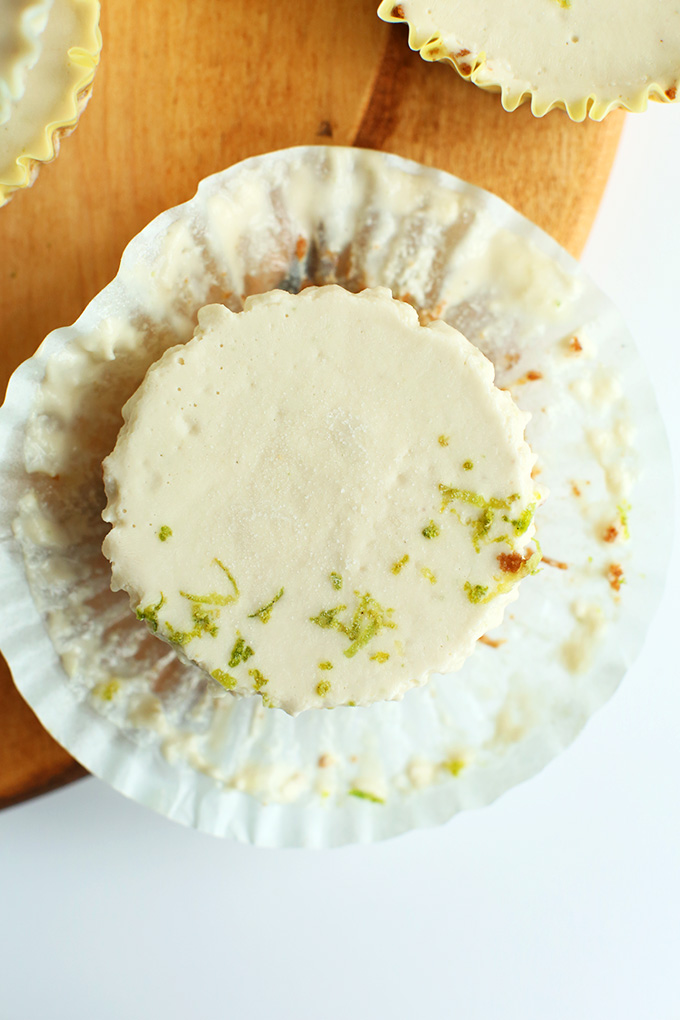 Top down shot of a Vegan Key Lime Pie topped with lime zest