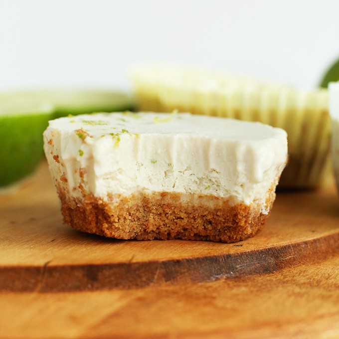 Mini Vegan Key Lime Pie with a cashew coconut filling and graham cracker crust