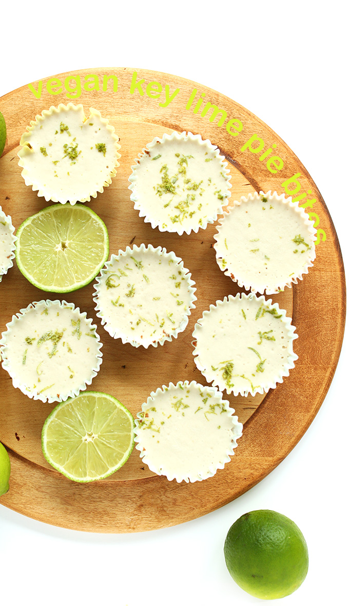 Cutting board full of Vegan Key Lime Pies for a delicious dessert