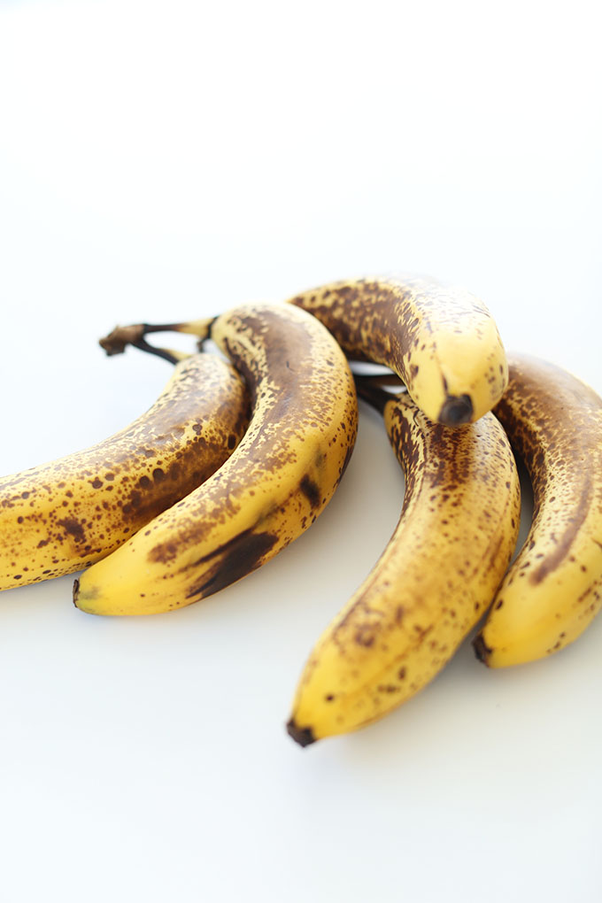 Perfectly spotted bananas for making gluten free banana bread