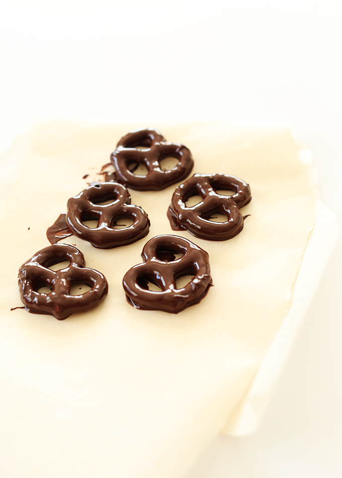 Chocolate Covered Pretzels on parchment paper