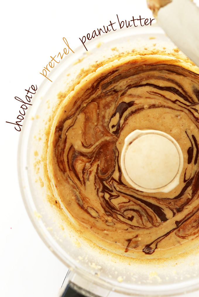 Food processor with homemade Chocolate Pretzel Peanut Butter