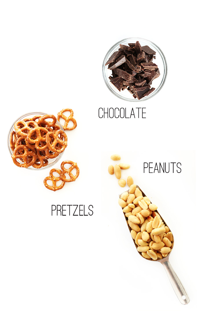 Chocolate, pretzels, and peanuts for making a delicious snack