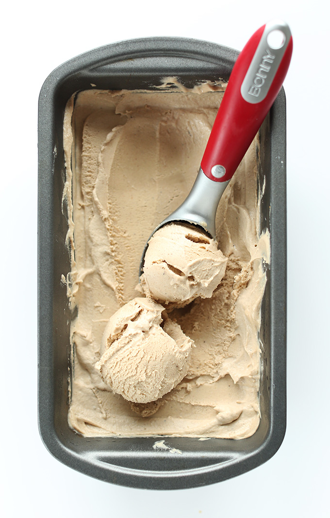 Scoops of gluten-free vegan Chai Ice Cream made from cashews