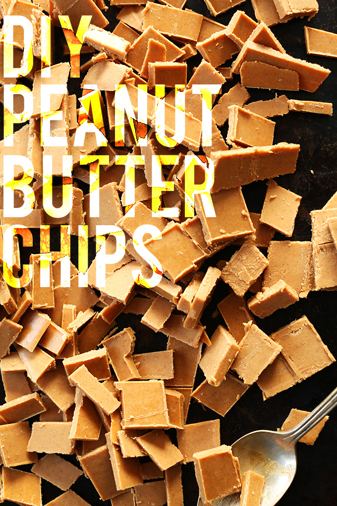 Baking sheet filled with DIY Peanut Butter Chips