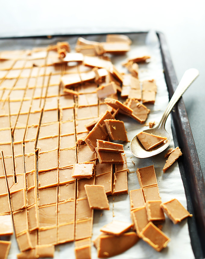 Baking sheet with freshly sliced pieces of Peanut Butter Chips