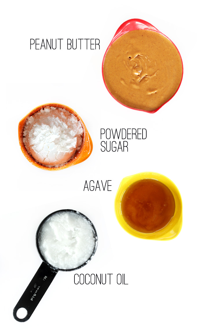 Peanut butter, powdered sugar, agave, and coconut oil for making DIY PB Chips