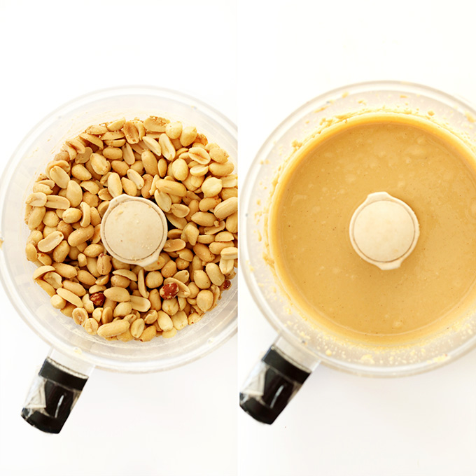 Showing before and after photos of making peanut butter in a food processor