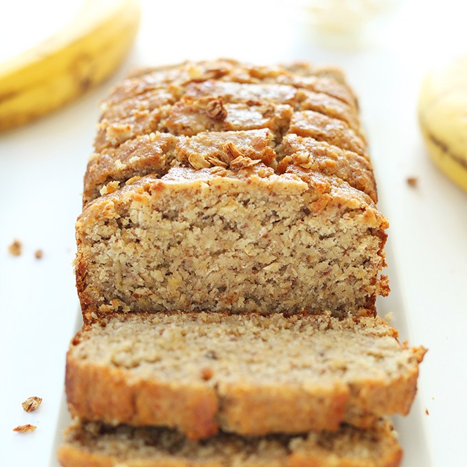 Loaf of sliced Gluten-Free Banana Bread for a delicious treat