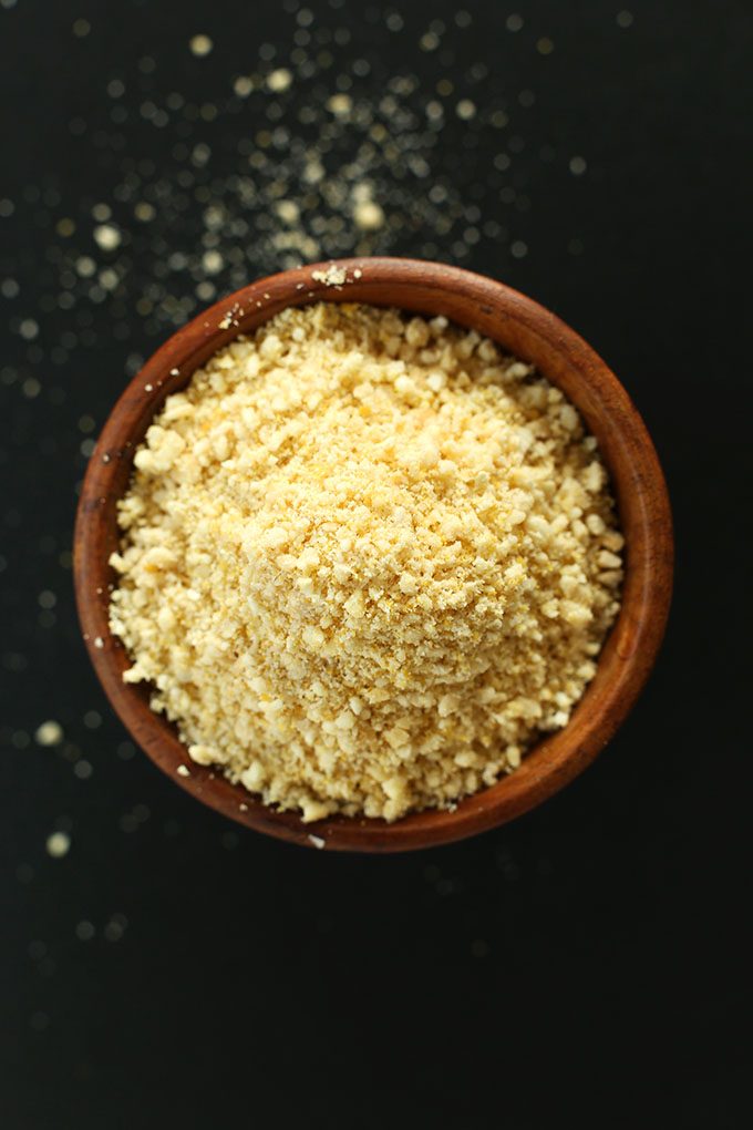 Close up shot of finely crumbled Vegan Parmesan Cheese