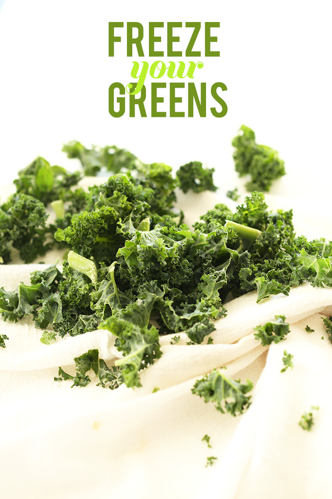 Freshly chopped kale on a kitchen towel