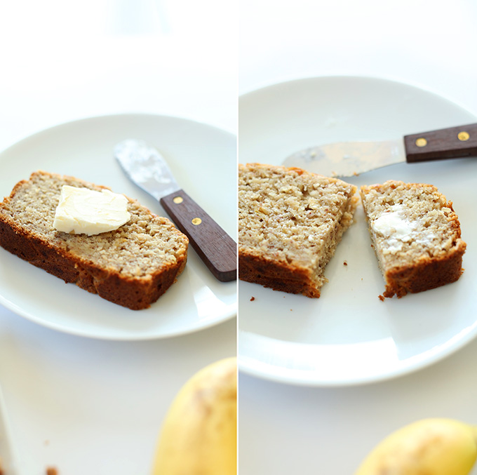 Slice of Gluten-Free Banana Bread with a slab of vegan butter