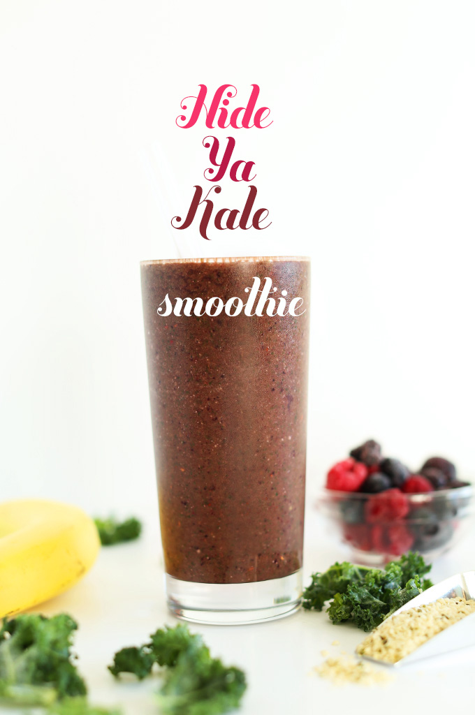 Side view of a tall glass filled with our Hide Your Kale Smoothie recipe