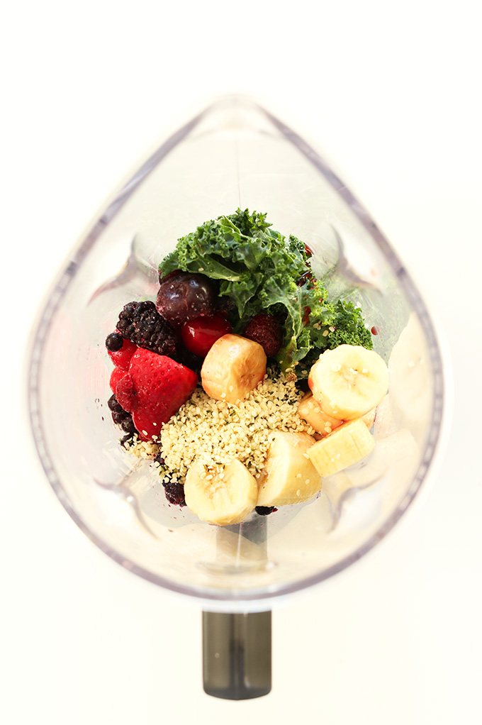 Blender containing the ingredients for our Hide Your Kale Smoothie recipe