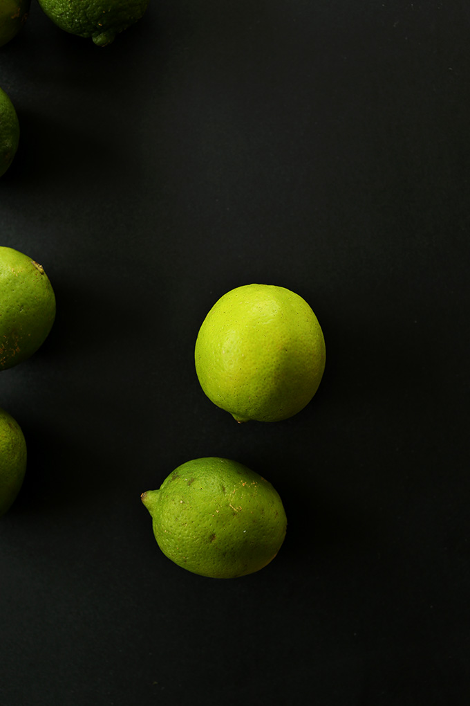 Fresh limes for making Vegan Key Lime Pies