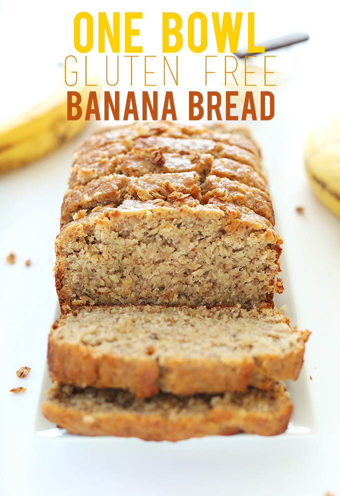 Partially sliced loaf of our Gluten-Free 1-Bowl Banana Bread recipe